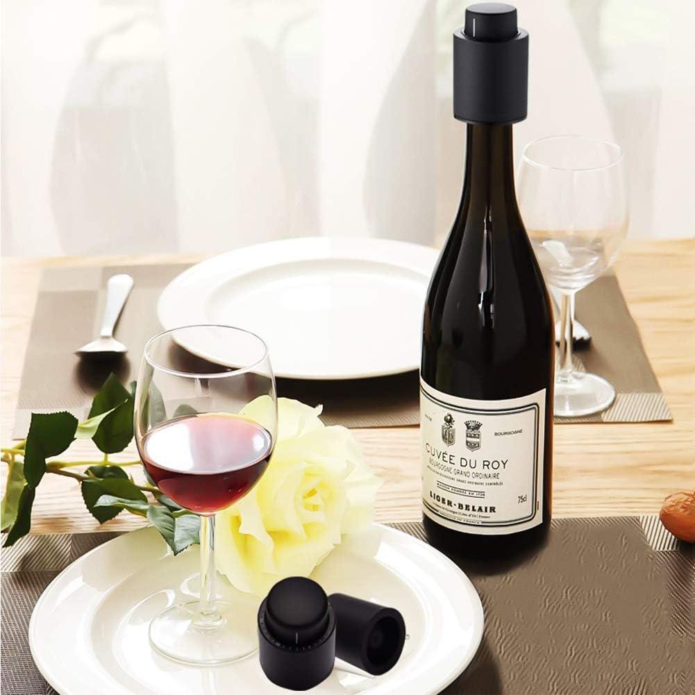 2 pezzi sono il miglior accessorio per famiglie e feste tappi per vino con scala temporale tappi per vino riutilizzabili nero Yfox offrono tappi di vino freschi per gli amanti del vino