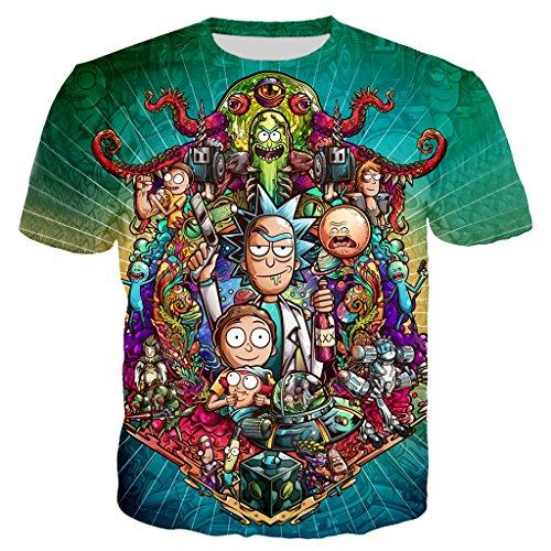 YX GIRL Novelty Unisex 3D Printed t Shirts Ahegao t Shirt Summer t-Shirt (RM-DX-01, 3XL)