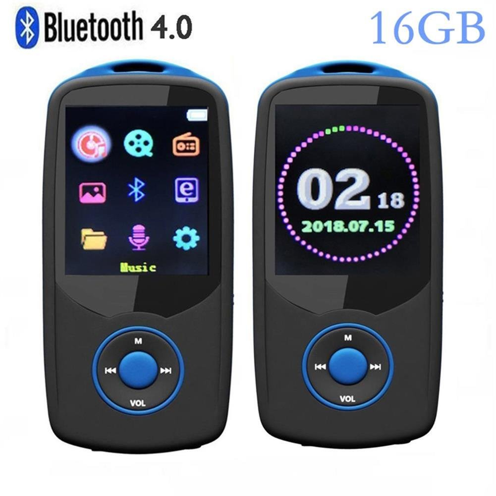 DeeFec Newest Version Bluetooth4.0 MP3 Music Player 16GB with Color Menu Screen, Portable Lossless Sound Quality Player with FM Radio, Recorder, Support Up to 64GB Micro SD Card - Blue