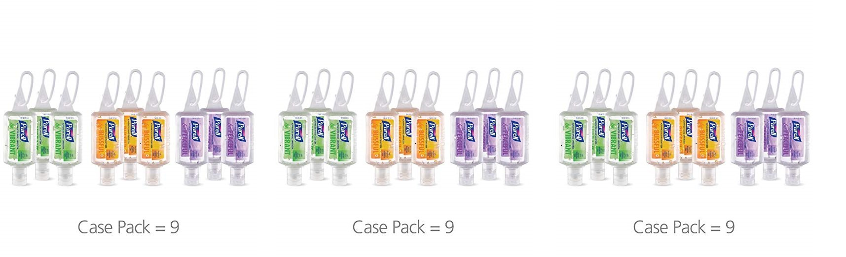 Purell 3900-09-ECME17 Advanced Hand Sanitizer Essentials Portable Bottle - Infused with Essential Oils, 1oz. Travel Sized Jelly Wrap Bottles (3 X Pack of 9)