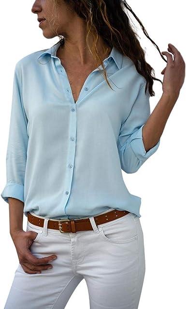 Camisas de Manga Larga para Mujer, EUZeo, Gasa Tallas Grandes ...