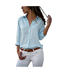 Mode Femmes Élégantes en Mousseline De Soie Simple Couleur Unie T-Shirt, Bureau Dames V-Cou Bouton Plain Long Rouleau Blouse À Manches Casual Daily Tops, Chemise Femme, Tee Shirt(Large,Bleu)
