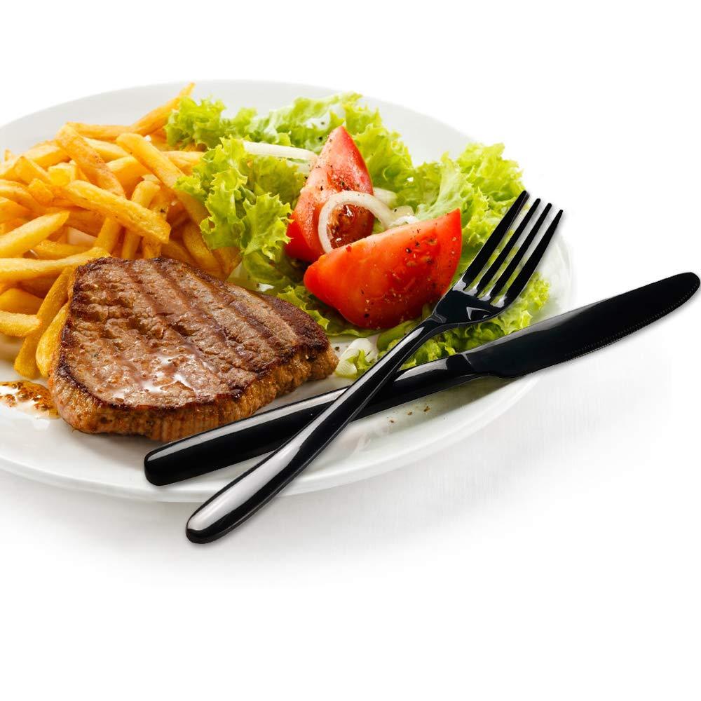 Service pour 6 Personnes Ucake 24 pi/èces M/énag/ère Couvert de Table Noir en Acier Inoxydable