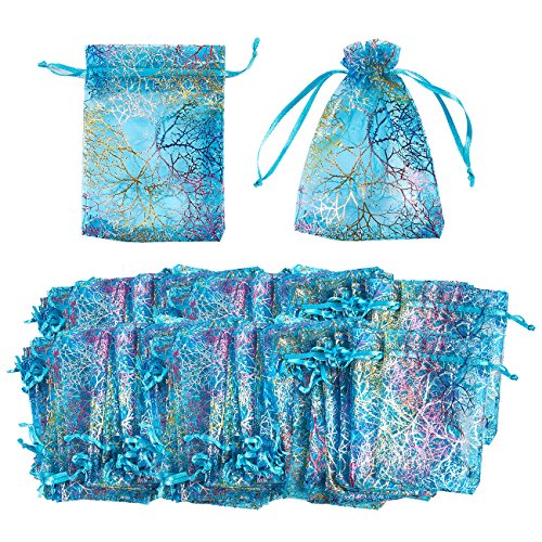 Organza Bags - 120-Count Blue Coral Satin Drawstring Organza Bags, Mesh Favor Bags for Baby Showers, Wedding Gifts, Special Occasions, Party Favors - 3.5 x 4.7 Inches]()