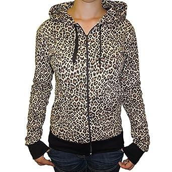 c499e4f247dc Flip Womens Leopard Animal Print Zip Up Hooded Top Hoodie UK 8 (XS): Amazon. co.uk: Clothing