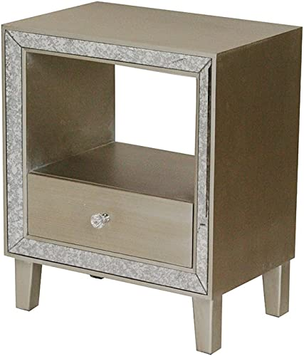 Heather Ann Creations Bon Marche Series 1 Drawer 1 Open Shelf Small Space Saving Wooden End Table with Mirrored Trim, Champagne