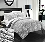 Chic Home 7 Piece Alligator NEW FAUX FUR COLLECTION! With Mink like backing in Alligator Animal Skin Design Queen Comforter Set Grey With White Sheets included