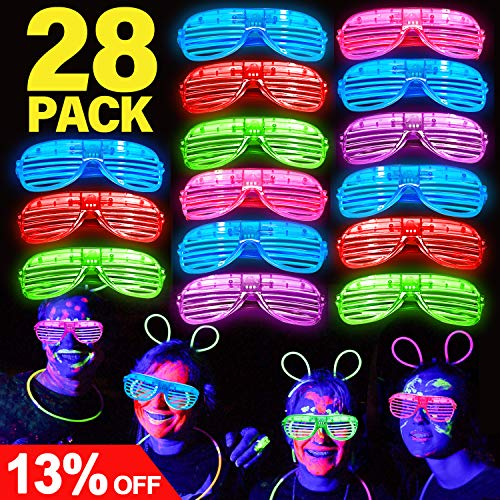 Joyork July Deals 28 Pack LED Light Up Glasses LED Light Up Party Favors Neon Light Up Shutter Shades Flashing Grow Glasses Glow in The Dark Party Supplies for Kids Adults Birthday Holiday Gift