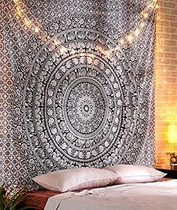RAJRANG BRINGING RAJASTHAN TO YOU Tapestry Wall Hanging - Cute Hippie Mandala Tapiz Queen Size Cotton Bedding Bohemian Boho Bedspread Wandteppich