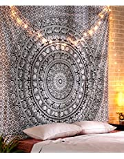 Large Mandala Tapestry Black and White Elephant Tapestries Decorative Boho Hippie Wall Hanging Indian Queen Size Bed Sheet Pure Cotton Bedding Picnic Beach Throw