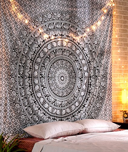 RAJRANG BRINGING RAJASTHAN TO YOU Black and White Mandala Large Elephant Tapestries Decorative Boho Hippie Wall Hanging Indian Queen Size Bedspread Sheet Pure Cotton Bedding 228 x 213 cms