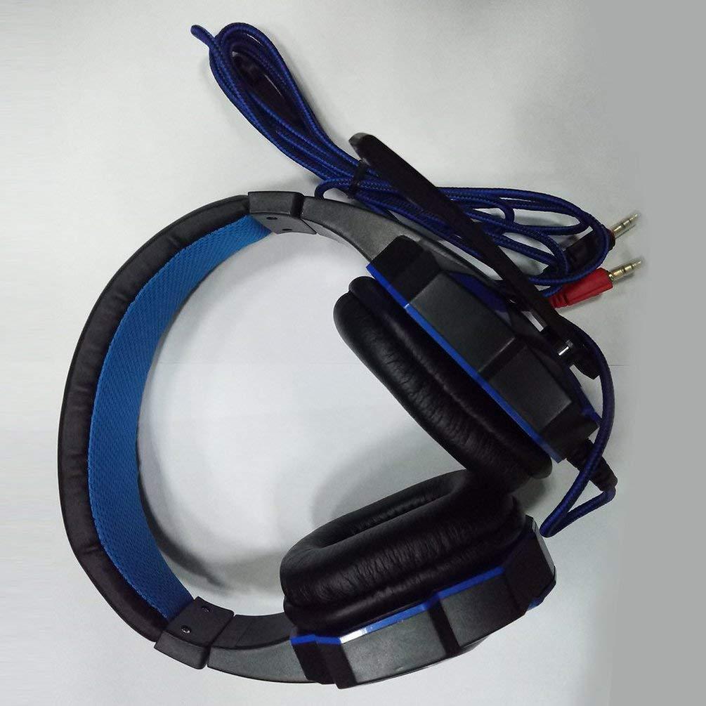 TAOHOU Cuffia da Gioco Stereo con Surround da 3,5 mm Cuffia con Microfono per PC Blu