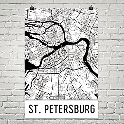 Map Of St Petersburg Florida.Amazon Com St Petersburg Poster St Petersburg Wall Art St