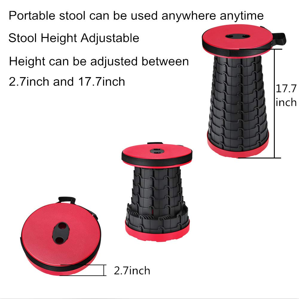 2.86 Lbs Foldable Stool for Adults HOKLAN Folding Step Stool Portable Lightweight Plastic Stool,Outdoor Travel Camping Fishing Garden Kitchen Bathroom Folding Stepping Stool 1 Pack Red