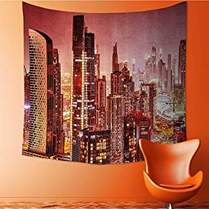 Nalahomeqq Fabric Custom tapestry by Dubai at Night Cityscape with Bright Lights of Tall Skyscrapers Panorama Picture Print Fabric drawing room Decor Pink Gold 59 W x 83 L INCH