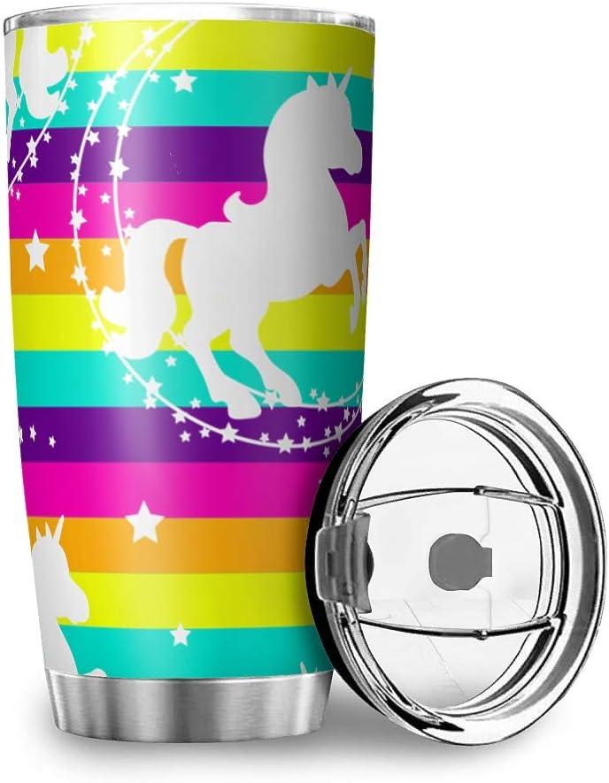 Fanaxii Unicornio arco iris, taza de café de acero inoxidable, a prueba de fugas, taza térmica con doble pared aislante, botella de coche con tapa, vaso para viajes, oficina o coche, blanco, 600 ml