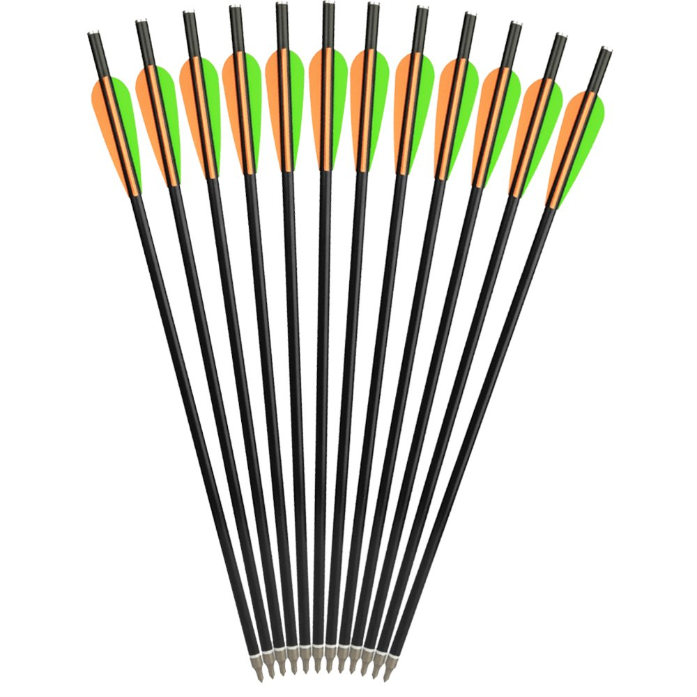 SHENG-RUI 14'' Crossbow Bolts Fiberglass Arrows Archery Hunting Targets Arrow with Replaced Arrowheads Flat Nocks (12 pcs/Pack)
