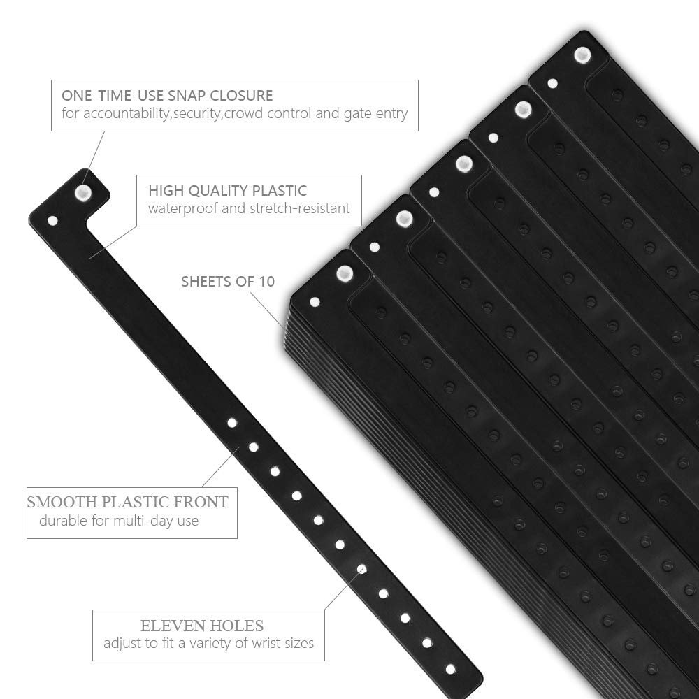 Ouchan Black Plastic Wristbands - 100 Pack Wristbands for Events Club Music Meeting Party Festival by OUCHAN (Image #3)