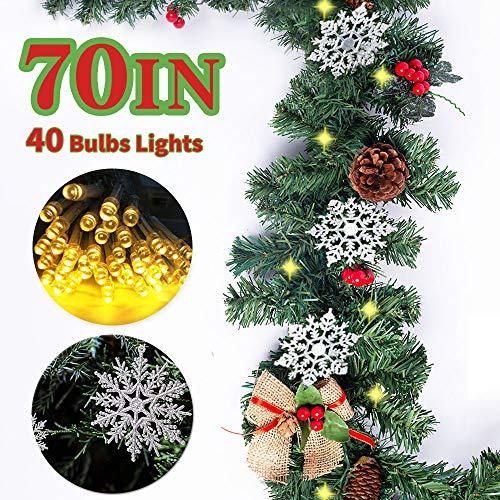 Kenme Christmas Garland with Lights Xmas Decor Wreath for Front Door, Christmas Decorations Garland Kit Bows, Red Berries, Pine Cones Ornaments (70  Garland; 157  Lights; 12 PCS Silver Snowflake)