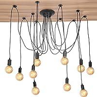 Spider Lamps, 10 Head Industrial Vintage Style Adjustable DIY Ceiling Spider Pendant Lighting Rustic Chandelier