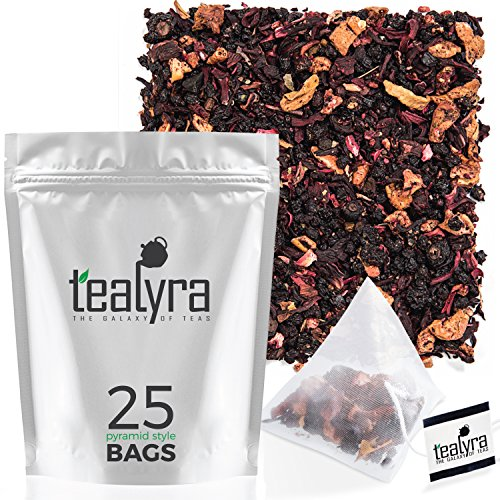 Tealyra - Grandma's Garden Berry - 25 Bags - Fruit Tea Blend - Hibiscus and Berries Based Herbal Loose Leaf Tea - Vitamines Rich - Caffeine-Free - Pyramids Style Sachets ()