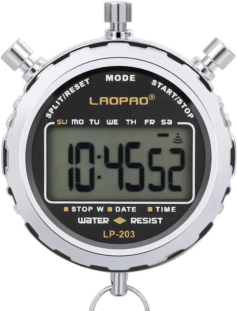 Cronómetro de Metal, Cronómetro, 1/100 Segundos Tiempos 100 Unidades Memorias Impermeable Cronómetro Electrónico para Deportes al Aire Libre