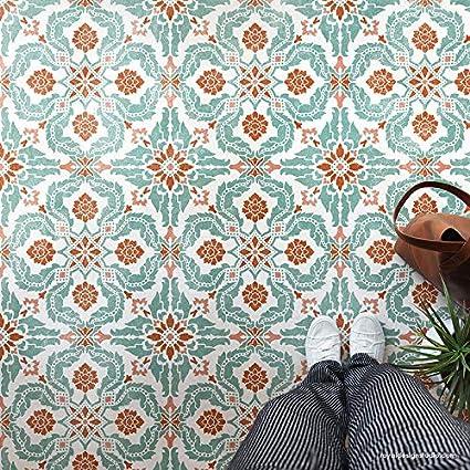 Amazon Com Santiago Tile Stencil For Painting Floor Stencils Or