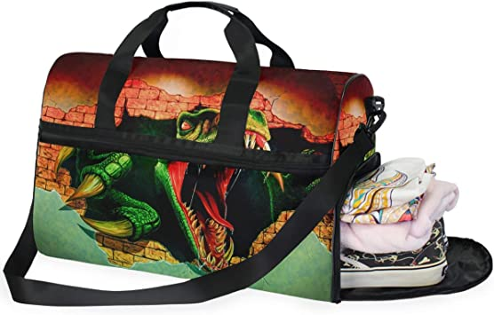 Dinosaurs Sports Gym Bag with Shoes Compartment Travel Duffel Bag for Men and Women