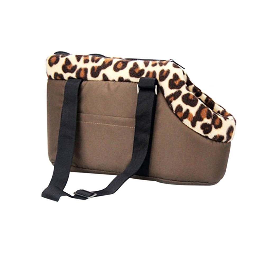 NUOLUX Portable Leopard Pet Dog Puppy Cat Travel Outdoor Carrier Carry Bag Handbag - Size S (Coffee)