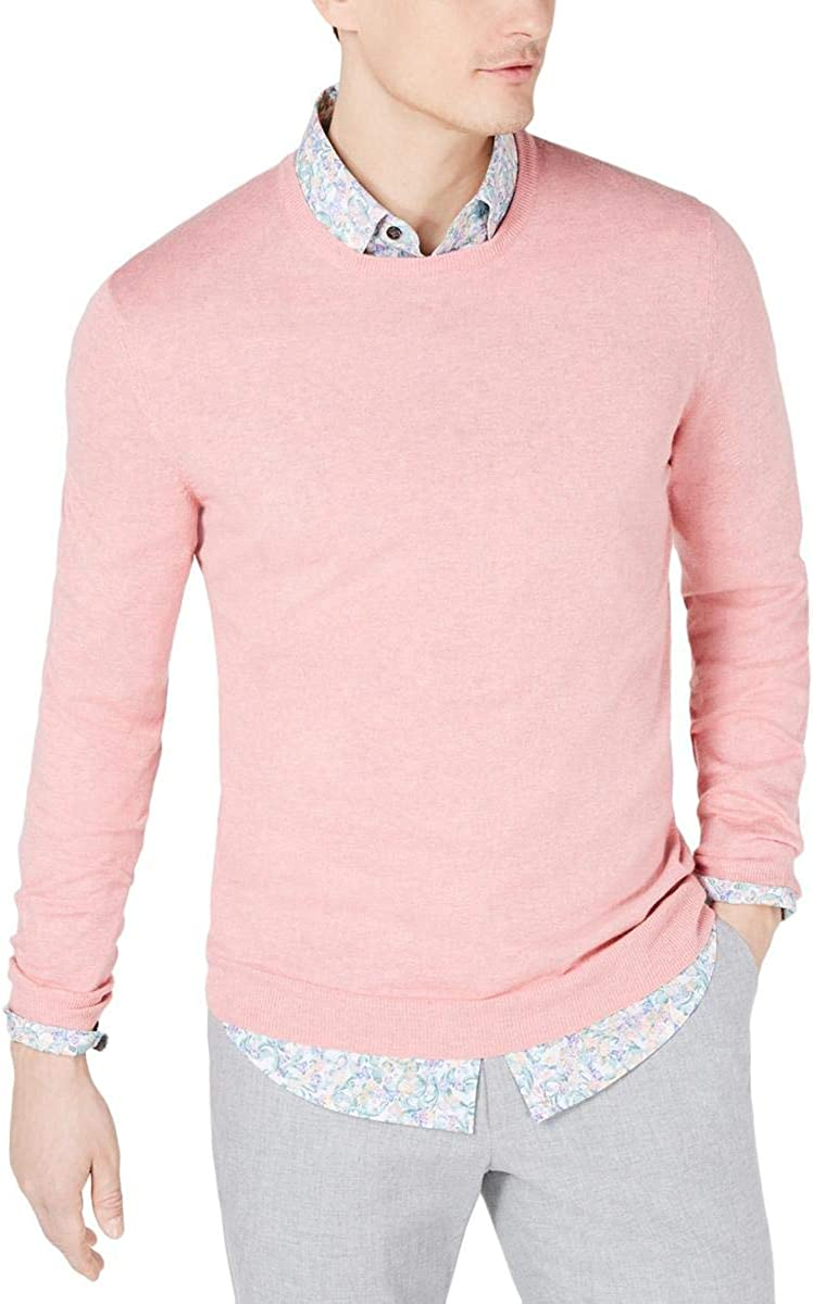 Tasso Elba Mens Cotton Blend Lightweight Crewneck Sweater