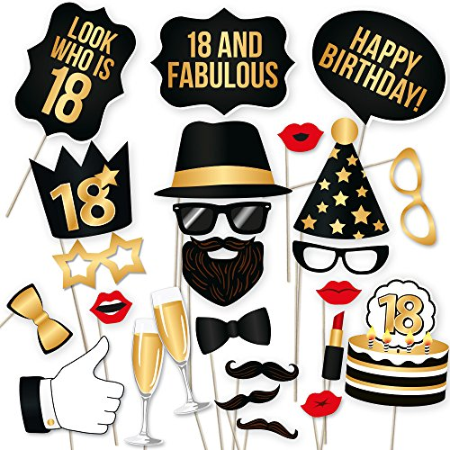 18th Birthday Photo Booth Props - Best 18 Birthday Party Accessories Supplies for Photo Booth Parties. 18th Birthday Gift for Women and Men. Gift Packaging (34 Black and Gold Decorations)