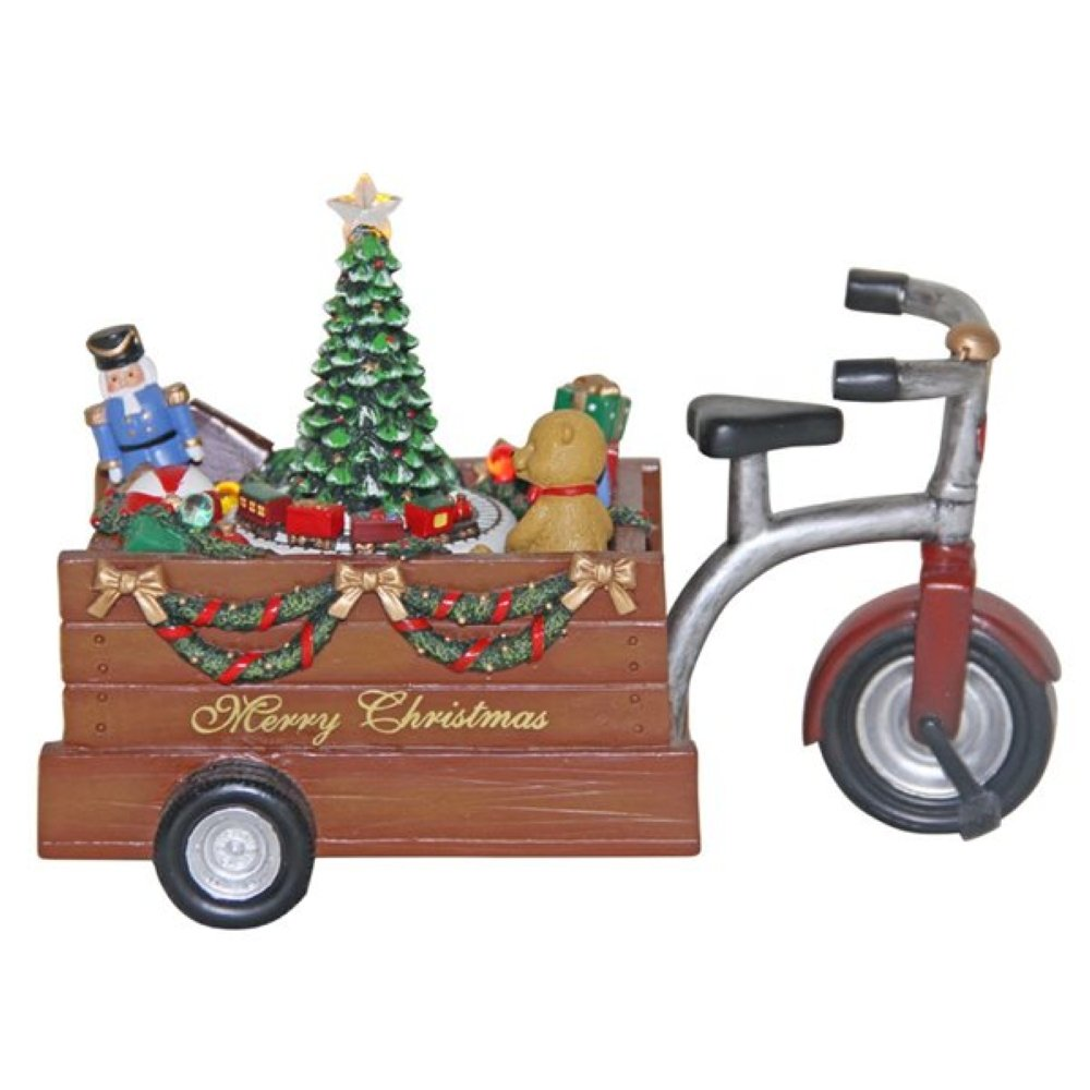 Musicbox World Tricycle on The Platform a Christmas Zugszene Plays 8 Different Melodies Musical Figurine, Stone, Multi-Colour 55005