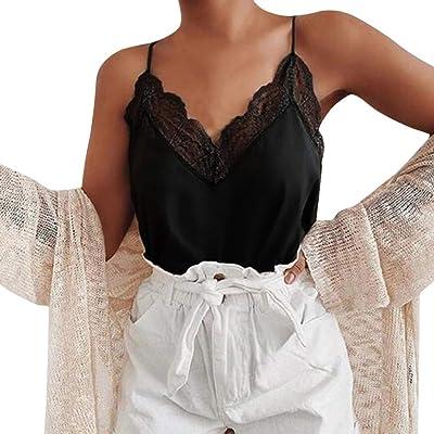 👚👚👚Mujeres Playa Casual con Cuello En V Blusa Sexy Chaleco Sin Mangas Camisola Short Tank Tops -para Tops Mujer Casual-Tops Sueltos-Camisas De Mujer Elegantes-Camisa Desigual: Ropa y accesorios