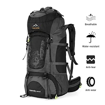 bdb6bde22be9 NACATIN Trekking Rucksack, Hiking Backpack 70L,Mountaineering Backpack  Waterproof with Rain Cover for Men Women,Travel Backpack for Camping  Climbing ...