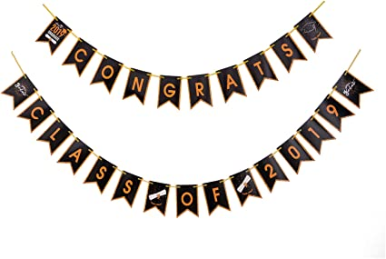 Prom 2019 Graduation Decorations Congrats Class of 2019 Banner Home Perfect High School Graduation Party Supplies 2019 no DIY Required College