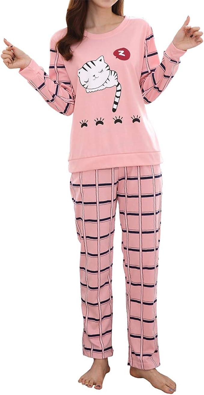 Amazon Com Big Girls Cute Cartoon Cat Print Top And Pants Pajama Set Kids Cotton Pjs Sleepwear Clothing