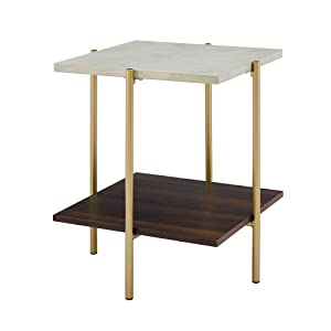 "WE Furniture 20"" Gold Mid Century Modern Nightstand Small End Side Table Wood Base"