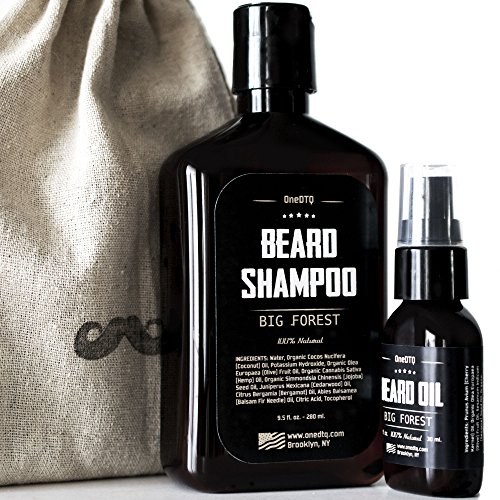 Big Forest Beard Growth Kit: Beard Wash & Beard Oil - 100% Natural & Organic Facial Hair Care Set for Men - In a Mustache Stamped Linen - Big Facial