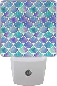 Naanle Set of 2 Magic Unicorn Stars Purple Auto Sensor LED Dusk to Dawn Night Light Plug in Indoor for Adults (Mermaid Scales)