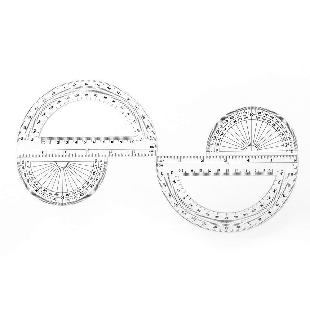 2+2 Pack Plastic Protractors 180 Degrees, 6 Inches and 4 Inch, Clear by changdadic (Image #5)