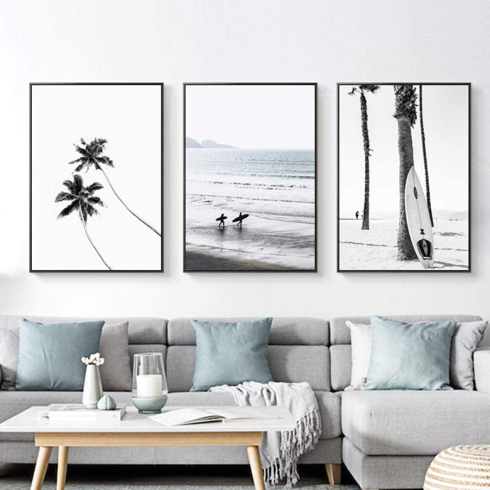 Xykshiyy Gallery Wall Art Aerial Beach Ocean Wave Palm Tree Print Surf Posters and Prints Nordic Home Decor Wall Pictures for Living Room//40x60cmx3pcs no frame