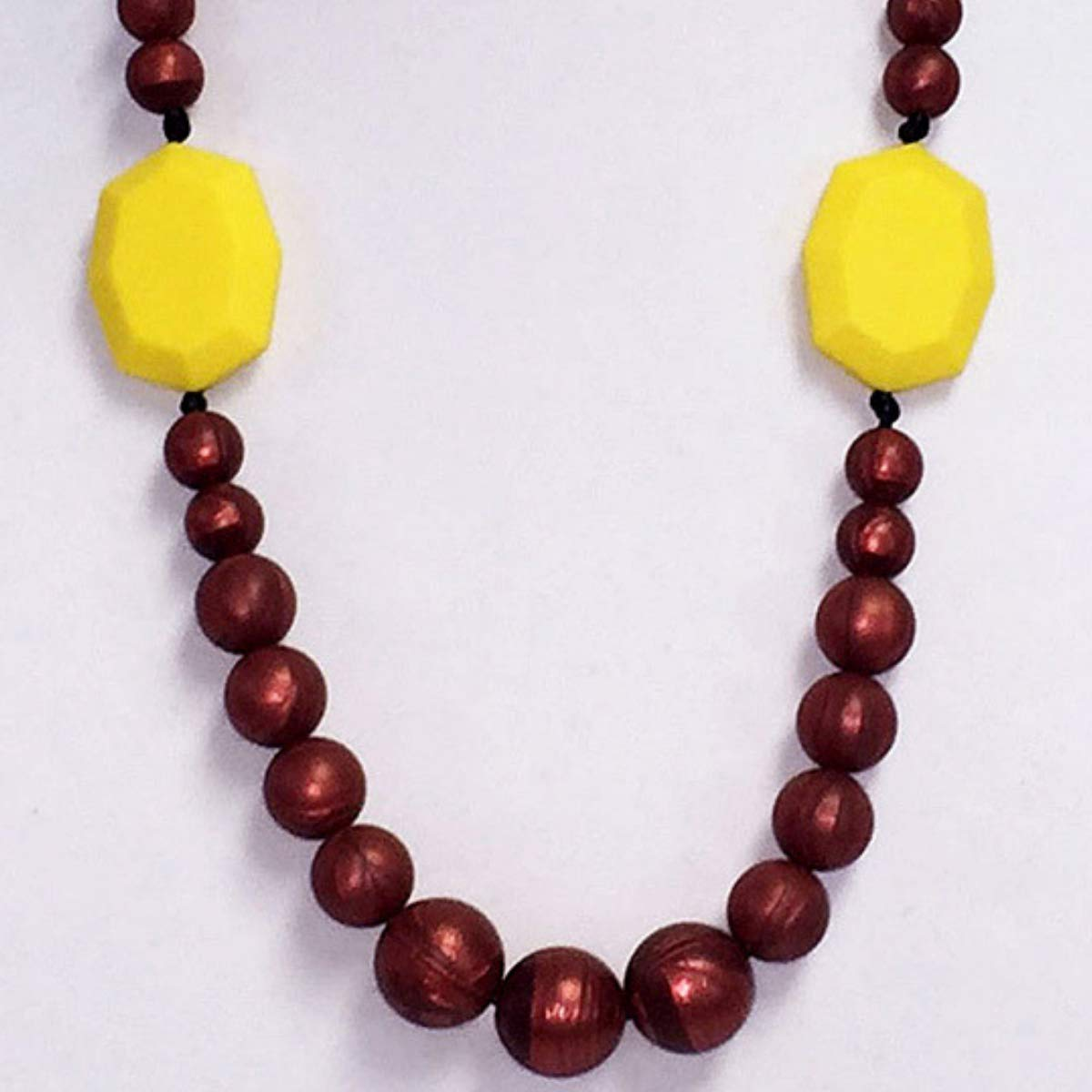 Gumeez Teething Necklace Marisol - Yellow /& Dark Red Pearl Faceted Rectangle and Round Beads