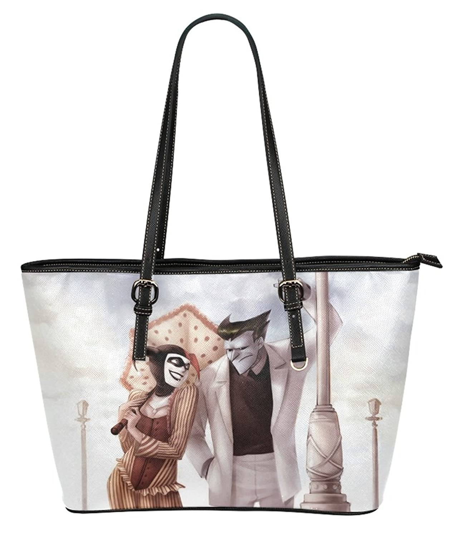 Large Volume High-grade PU Leather ReusableShoulder Hand bag Tote Bag with Harley and Joker Background