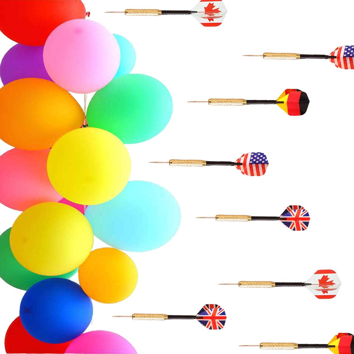 """500 Pcs Balloon Darts Carnival Game - 6"""" Latex Balloon Game Water Balloons and 8 Pcs Plastic Darts Bundle for Birthday Party Games, Outdoor Carnival Pop Party"""