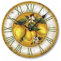 Item C2105 Yellow Lemons Vintage Style Wall Clock (12 Inch Diameter)