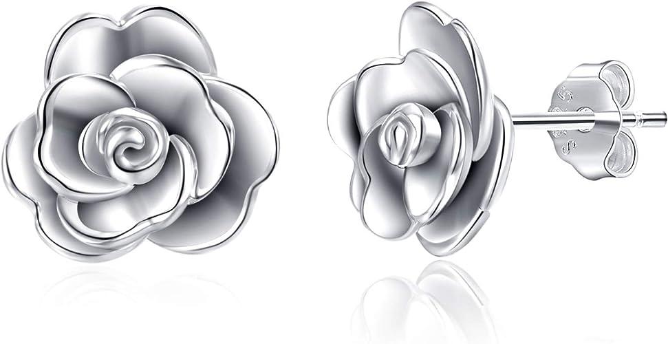 Flower Rose Earrings .925 Sterling Silver
