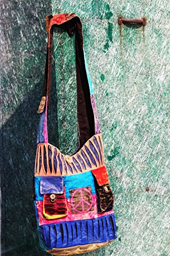 TRIBESMAN-Blue Red Hobo Cotton Sling Cross Body Messenger Shoulder Bag Hippie Boho Bohemian Light Roomy Spacious by TRIBESMANGOLD (Image #2)