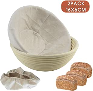 2X Round Bread Proofing Proving Basket Size 16x6cm Hold 250g Dough, Rattan Banneton Brotform,Sour Dough proofing, Artisan Bread, Natural Rattan Bowl with Linen Liner