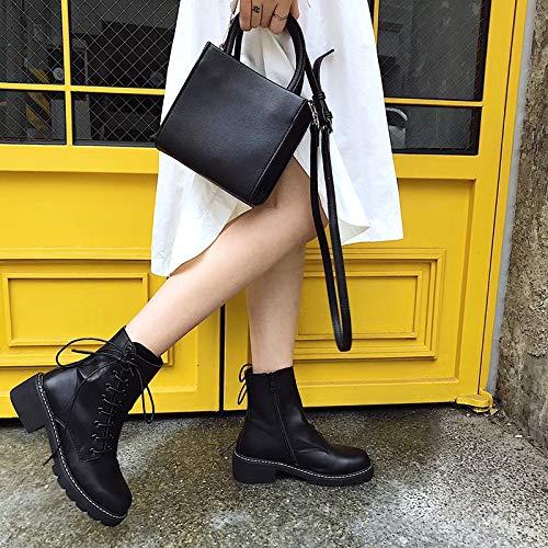 Shukun Stiefeletten Herbst Martin Stiefel Frauen Stiefel mit Frauen dick mit Stiefel flachen einzelnen Stiefel Studenten Wilde Stiefel 49f644