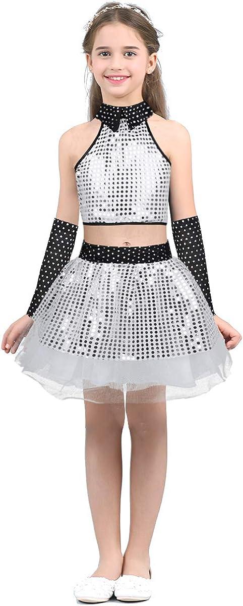 inlzdz Child Kids Girls Sequins Jazz Modern Dance Outfit Crop Top Tutu Skirt Latin Waltz Hip-Hop Performing Costume